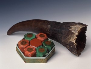 Example of a rhino horn and traditional medicine containing rhino horn.